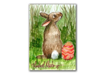 Easter Bunny Rabbit Lovers Special! Spring 1  LLMartin Original ACEO  Watercolor Free Shipping USA