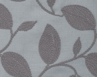 "ASTORIA,by softline, Embroidered leaf motif fabric, Slate color, 58"" wide, sold by the yard."