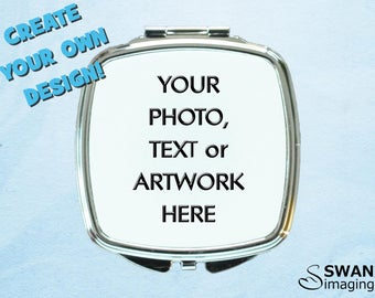 Custom Square Compact Mirror ~ Personalised Mirror Compact ~ Photo Compact Mirror ~ Purse Mirror ~ Bridesmaid Gift ~ Mother's Day Gift