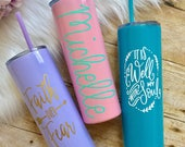 Lavender, Light Pink or Aqua Skinny Stainless Steel Tumblers with MATCHING STRAW, 20oz, Personalized, Powder Coated, Insulated, Monogrammed