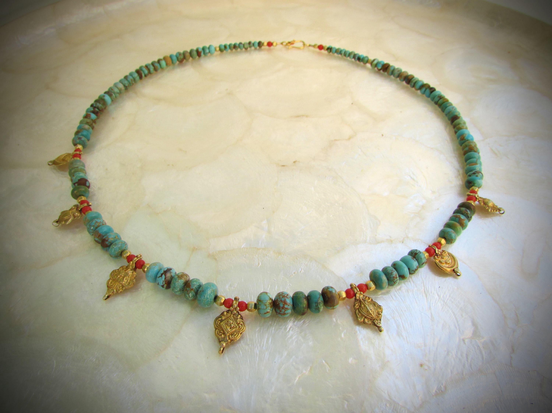 Gleeson Türkis Gold Perlen indisches Amulett antike Koralle