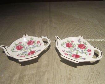 Teapot Tea Bag Holder Set Vintage 1980's Pink Rose Porcelain Bag Holders Tea Coffee Spoon Rest Gold Gilt Serving Dining - CT0214