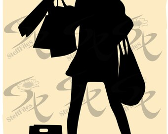 0499_Vector_SHOPPING_Silhouette,Woman,SVG,DXF, AI, png, eps, jpg,illustration Download files, Digital, graphical