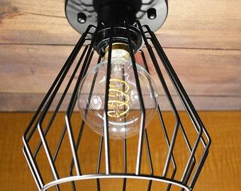Black Triangular Cage ceiling light Industrial Aluminium light, Antique Edison Bulb, Lamp, Rustic Lighting