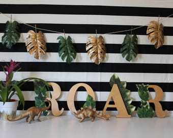 Tropical leaf party garland | Summer party garland | Gold leaf party garland