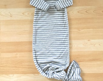 SALE!! // Gender Neutral Gray & White Striped Jersey Knit 0-3 Month Knotted Gown