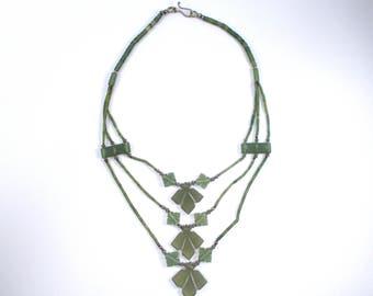 Carved Jade necklace, Vintage handmade necklace, Hand carved green jade, flower necklace, multilayer necklace, vintage three layers jade