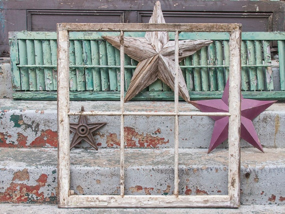 Antique rustic window frame with no glass 6 pane reclaimed for Outdoor window frame decor