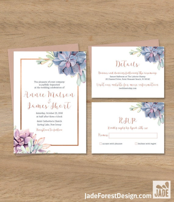 Succulent Wedding Invitation Greenery and Rose Gold