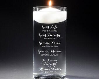 2 Memorial Vases - In Loving Memory Vase -Floating Wedding Memorial Candle - Memorial Candle - Engraved  - Your Life was a blessing