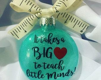 Teacher Ornaments\\ Glitter Ornaments \\free personalization