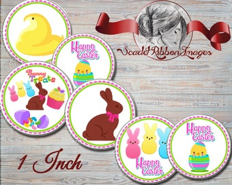 Easter Bunny Bottle Cap Images - Peeps, Chocolate Bunny, Jelly Beans and Easter chick  1 inch- Set of 15  600dpi, cupcake toppers, Gift Tags