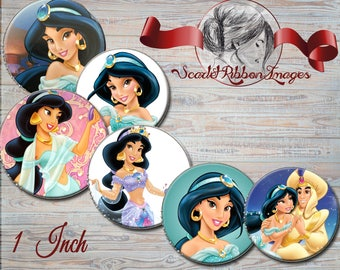 Jasmine Princess images  1 inch circles - digital collage sheet - bottle cap images, buttons, tags, scrapbooking, cupcake toppers
