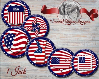 Flag, America, USA, Patriotic 1 inch digital image. Bottle Cap Images circles for the perfect pendant, bow, charm,necklace and craft