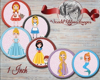 Fairy Tale Princesses 1 inch Bottle Cap images -  600dpi  printable digital collage sheet, stickers,  magnets