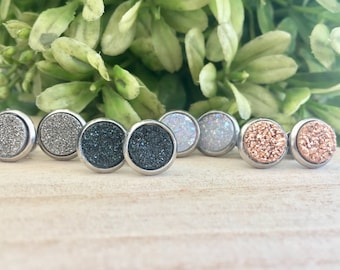 Druzy stud earrings -Tiny Druzy earrings studs! Hypoallergenic, larger size, Free Shipping! Earring studs, 8mm druzy studs, bridesmaid gifts