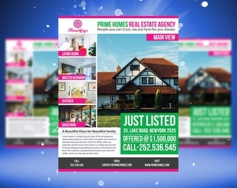 Real Estate advertising Flyer Just Listed Template - Editable in Microsoft Word, Publisher, Powerpoint, Photoshop INSTANT DOWNLOAD KOR-029A