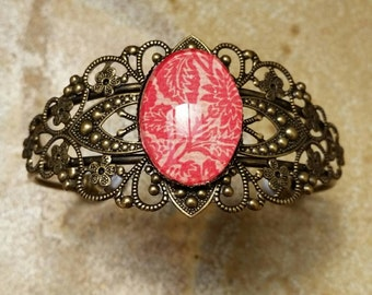 Red Bracelet, Cuff Bracelet, Filigree Bracelet, Cameo Bracelet, Glass Dome, Oval Dome, Australian Made, Ladies Gift, Bronze Bracelet
