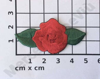 """Red roses iron on embroidered Applique patch large flower 2"""" x 1"""""""