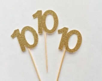 10th Glitter Cupcake Toppers - Anniversary - 10 - 10th Birthday - Dessert Table - Decorations - Donut Toppers - Glam - Golden - Gold - Party