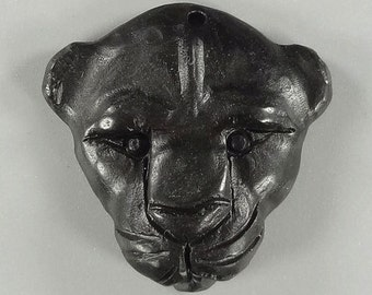 F05816# Amazing Hand Carved Leopard Head Animal art Black Bain Stone  wearable Pendant 1 Pcs