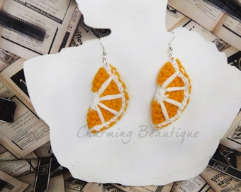 Orange Earrings Crochet Orange Crochet Earrings Dangle Earrings Citrus Earrings Crochet Jewelry Large Earrings Crochet Gifts Crochet Fruit
