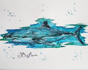 Shark, shark art, shark gift, shark decor, shark print, shark painting, ocean animals, scuba diving, shark nursery, nautical decor, nautical