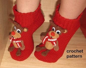 Socks crochet pattern, Socks with toys, Crochet socks pattern, Socks with deer, Warm socks pattern, Winter socks crochet pattern
