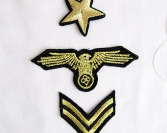 3 pcs.Gold emblem braid military stripe  star and  the Pentegon aviation tag grade custom Iron On Embroidered Patches Appliques