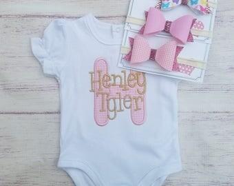 Monogram baby onesie, initial newborn onesie