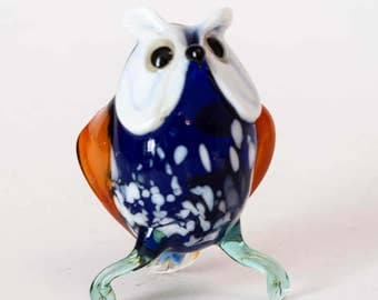 Hand-Blown Glass Eagle Owl Figurine (code 229)