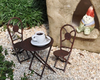 Tiny Bistro Set for Miniature Garden, Fairy Garden