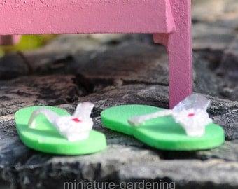 Miniature Flip Flops - Green for Miniature Garden, Fairy Garden