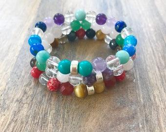 Stretch Bracelet Stack With Chakra Stones and silver Beads, Chakra Beaded Bracelets, Gemstone Wrist Mala, Mala Bead Bracelet
