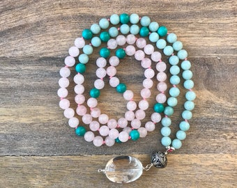 Amazonite and Rose Quartz Japa Mala Beads Necklace for Yoga and Mantra Meditation the Perfect Gift for your Wife or Girlfriend