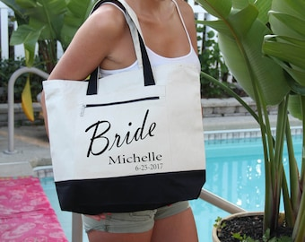 Bridal Party Bags with Name Bag: Heavy Canvas Zippered  Tote Bag, Bridal Shower Gift, Bachelorette Party, Engagement, Carryall, Tote Bag,