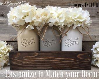 Table Decor New Home Gift Wedding Mason Jar Centerpiece Planter Box