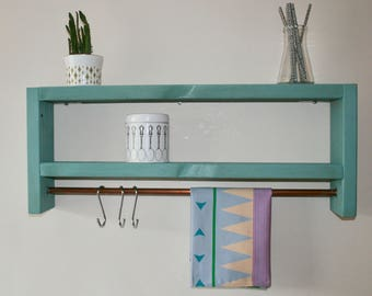 Wooden Upcycled Shelf with Copper Rail Kitchen Shelf Industrial Storage Egg shell