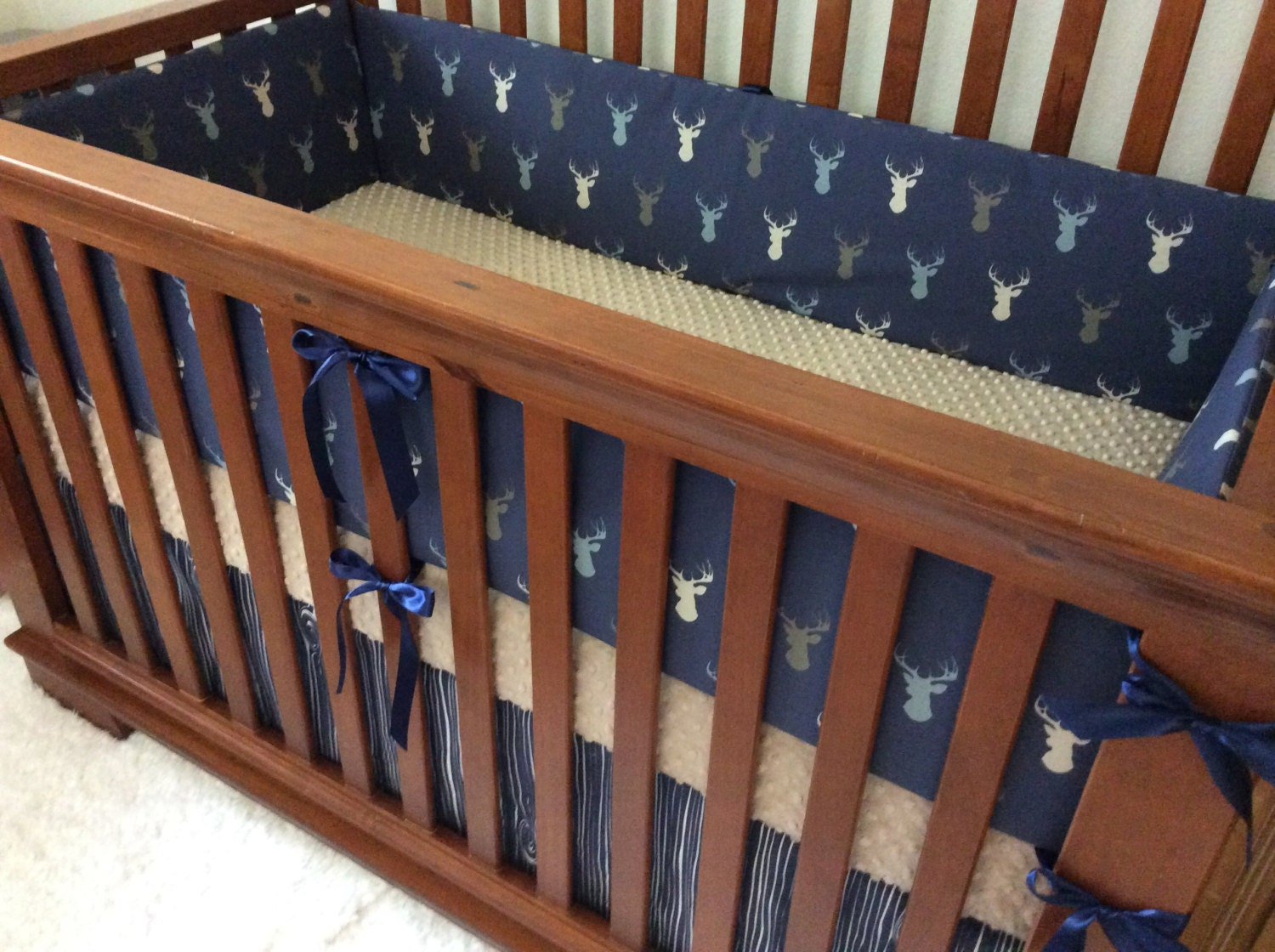 Navy Blue Crib Set Woodland Nursery Navy Taupe By