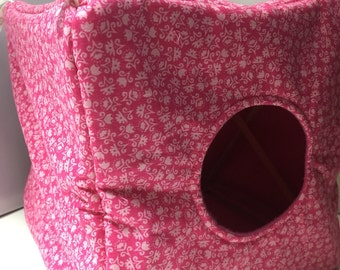 Deluxe Hammock Comfy Cube 2 Hole Pretty In Pink Floral  Rat Ferret Small Pet