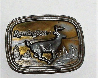 1970s Remington Arms Belt Buckle Deer Running Very Cool Metal Buckle