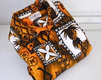 Vintage Hawaiian Shirt HUKILAU Barkcloth 1960s