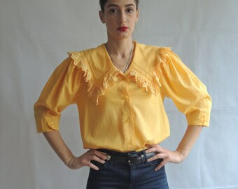 80s 90s Vintage Yellow Short Sleeve Blouse Top