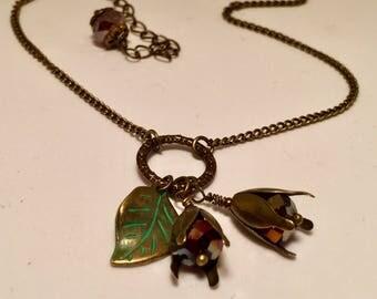 Hanging Flower and Leaf Necklace