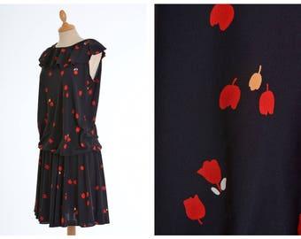 Vintage 1970s 1980s black floral tulip print jersey dress - size S/M