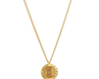 Re-worked Vintage Monogram Gold YSL Button Necklace Upcycled Unisex Yves Saint Laurent Button Pendant
