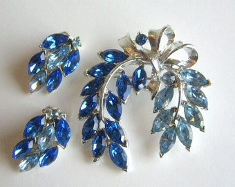 Two Toned Blue Rhinestone Wreath Brooch and Clip Earring Set