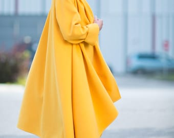 Women Coats, Cashmere Coat, Women Clothing, Yellow Coat, Asymmetric Coat, Fashion Women Coats, Extravagant Coat, Wool Fabric Coat