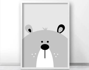 Bear Print, Digital Download Nursery Print, Bear Nursery Art, Printable Kids Art, Kids Print, Grey Nursery Decor, Baby Animal Print Download