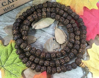 108 10mm Vintage Old Barrel Rudraksha Loose Beads Japa Mala Necklace Buddha Prayer Beads Meditation Bracelet